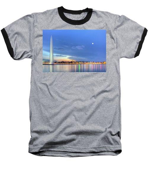 Geneva Lake With Famous Fountain, Switzerland, Hdr Baseball T-Shirt