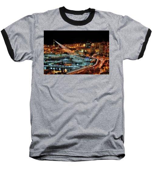 Genoa And The Lighthouse By Night - Genova E La Sua Lanterna  Baseball T-Shirt