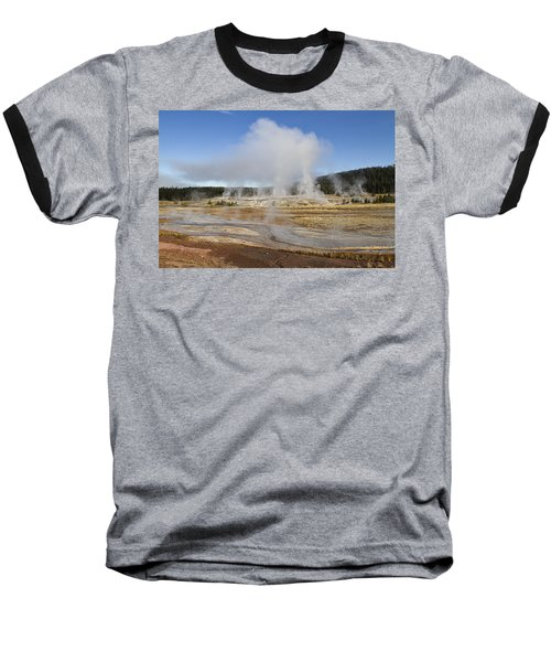 Gently Steaming Baseball T-Shirt by Shirley Mitchell