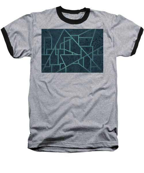 Geometric Abstraction In Blue Baseball T-Shirt