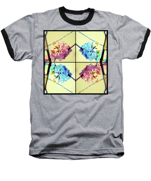 Geometric Cherry Blossoms Baseball T-Shirt