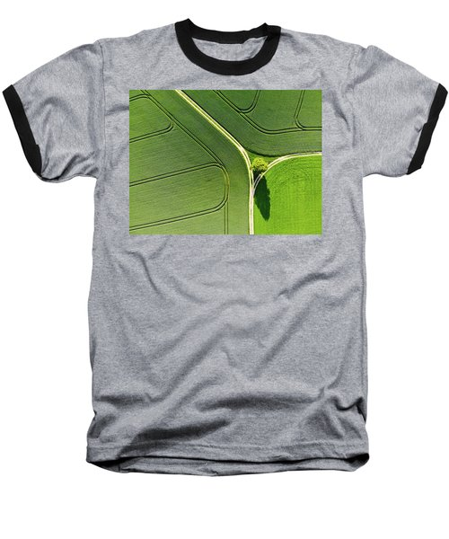 Geometric Landscape 05 Tree And Green Fields Aerial View Baseball T-Shirt