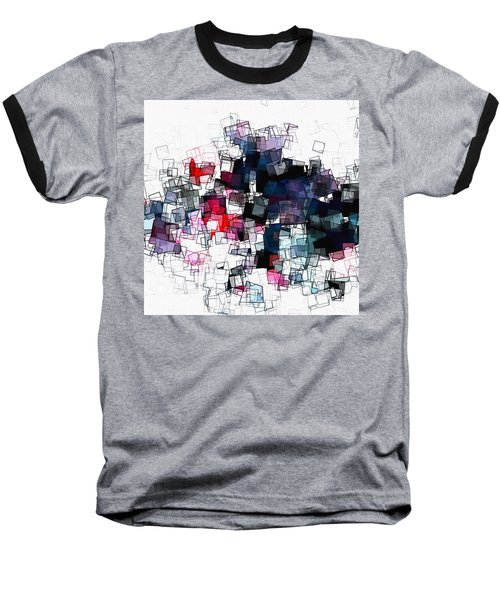 Geometric Skyline / Cityscape Abstract Art Baseball T-Shirt by Ayse Deniz