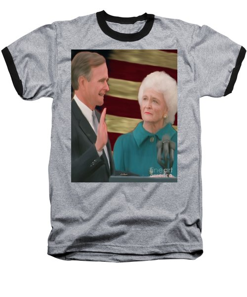 George Hw Bush Inauguration  Baseball T-Shirt by Jack Bunds