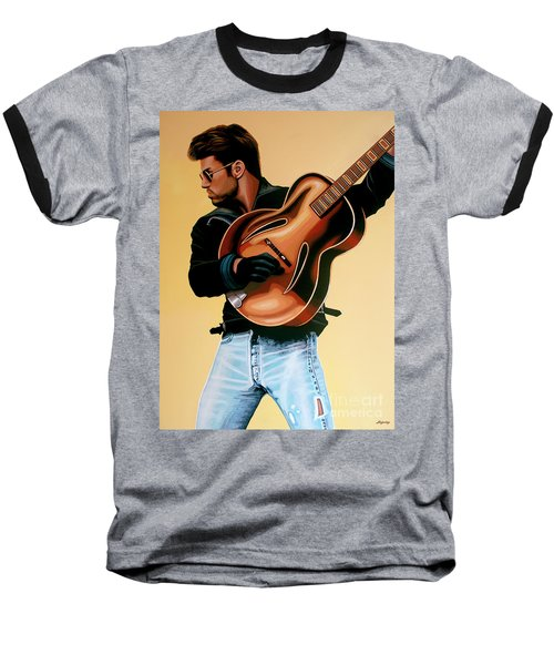 George Michael Painting Baseball T-Shirt by Paul Meijering