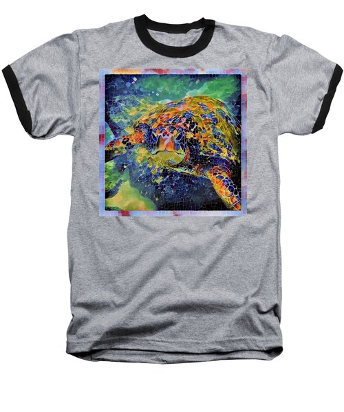Baseball T-Shirt featuring the painting George The Turtle by Erika Swartzkopf
