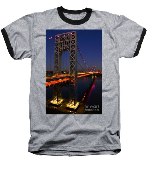George Washington Bridge At Night Baseball T-Shirt by Zawhaus Photography
