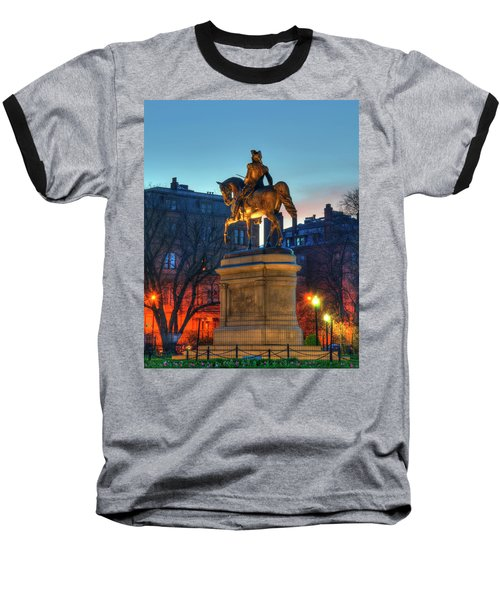 Baseball T-Shirt featuring the photograph George Washington Statue In Boston Public Garden by Joann Vitali