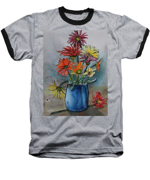 Gerberas In A Blue Pot Baseball T-Shirt