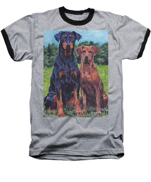 Baseball T-Shirt featuring the painting German Pinschers by Lee Ann Shepard