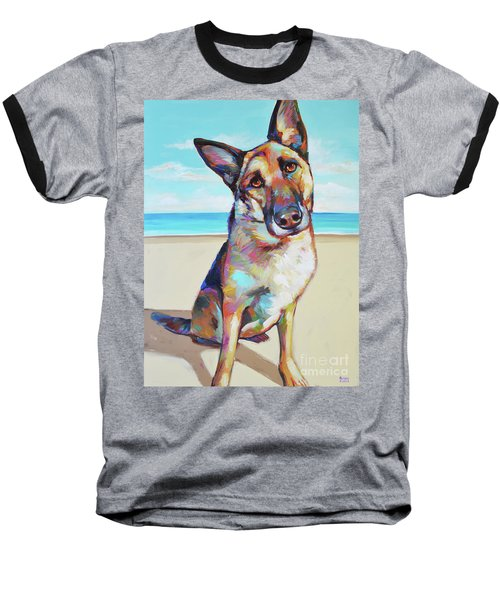 German Shepard On The Beach Baseball T-Shirt