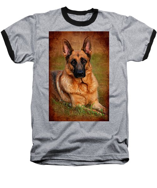 German Shepherd Dog Portrait  Baseball T-Shirt