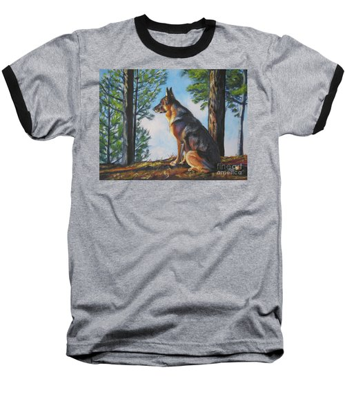 German Shepherd Lookout Baseball T-Shirt