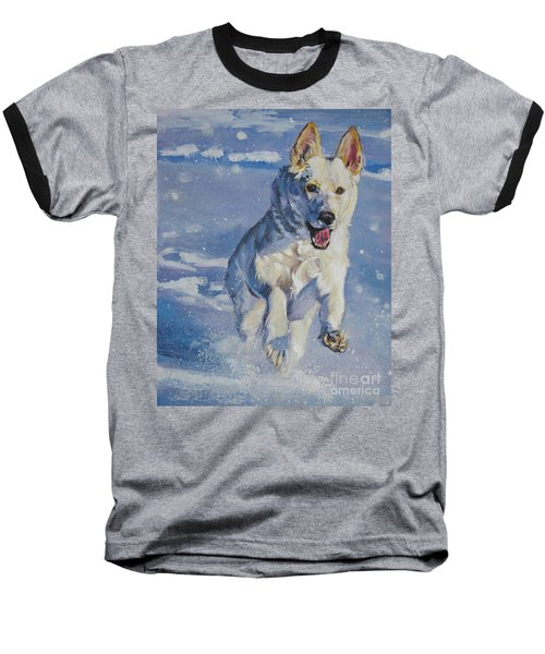 German Shepherd White In Snow Baseball T-Shirt