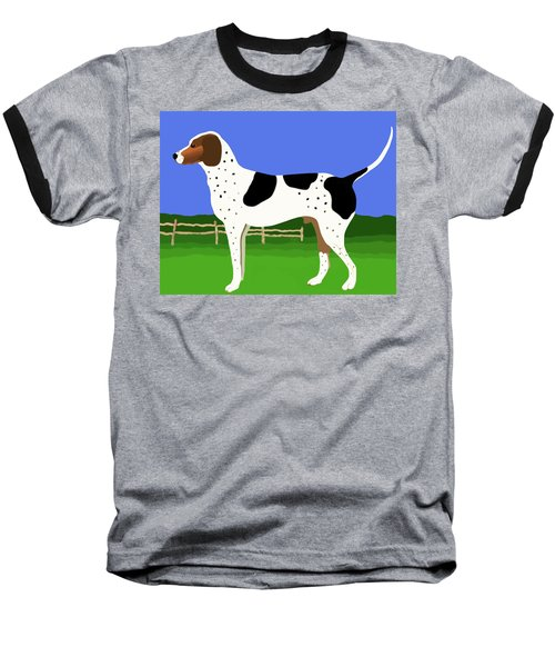 German Shorthaired Pointer In A Field Baseball T-Shirt by Marian Cates