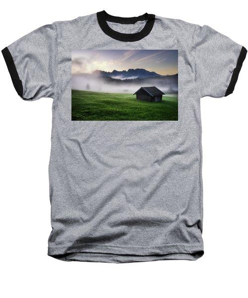 Geroldsee Forest With Beautiful Foggy Sunrise Over Mountain Peaks, Bavarian Alps, Bavaria, Germany. Baseball T-Shirt