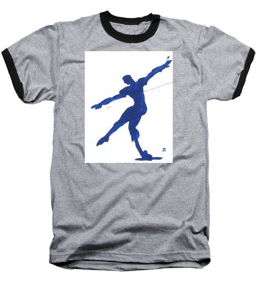 Baseball T-Shirt featuring the painting Gesture Brush Blue 2 by Shungaboy X