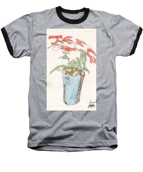 Baseball T-Shirt featuring the drawing Gesture Drawing Of Poinsettia by Rod Ismay