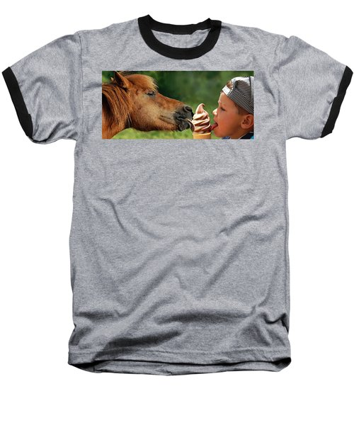 Pals - Getting Their Licks In Baseball T-Shirt by I'ina Van Lawick