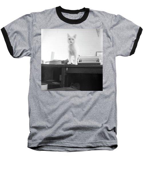 Ghost Cat, With Typewriter Baseball T-Shirt
