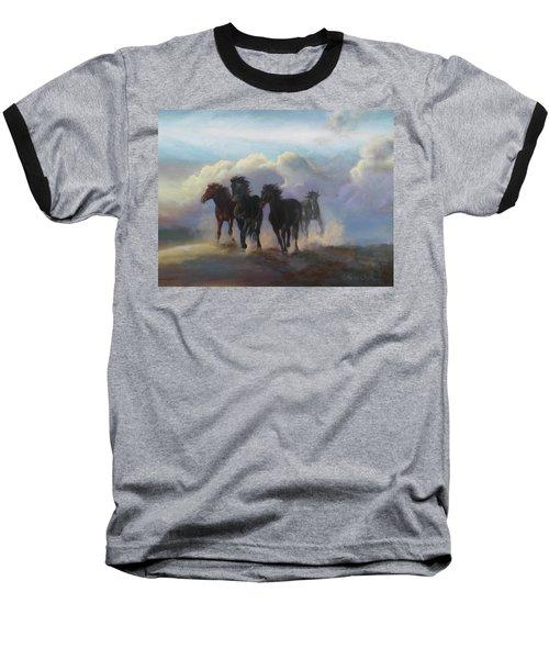 Ghost Horses Baseball T-Shirt by Karen Kennedy Chatham