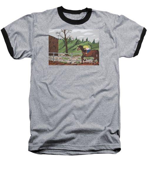 Baseball T-Shirt featuring the painting Gianna Riding  Bareback by Jeffrey Koss