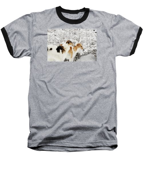 Baseball T-Shirt featuring the photograph giant Borzoi hounds in winter by Christian Lagereek