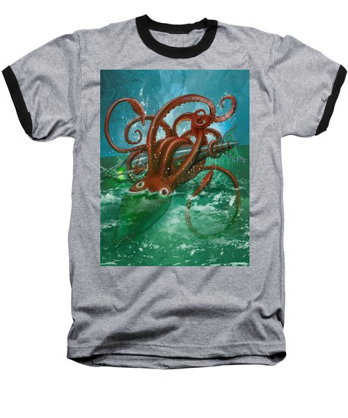 Giant Squid And Nautilus Baseball T-Shirt