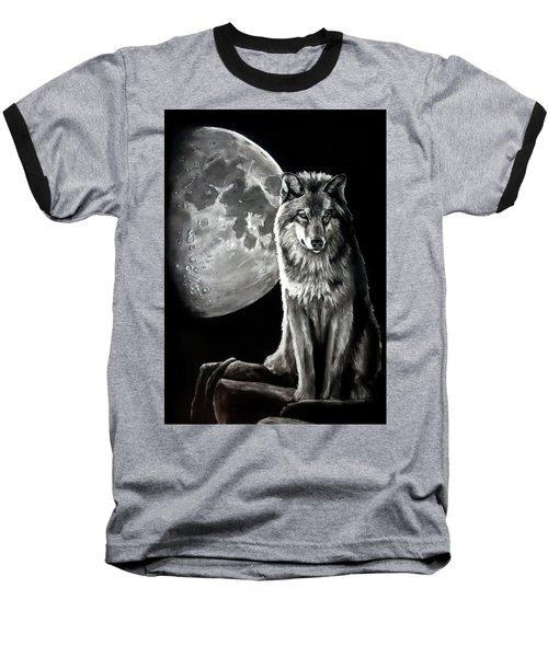 Gibbous Wolf Baseball T-Shirt