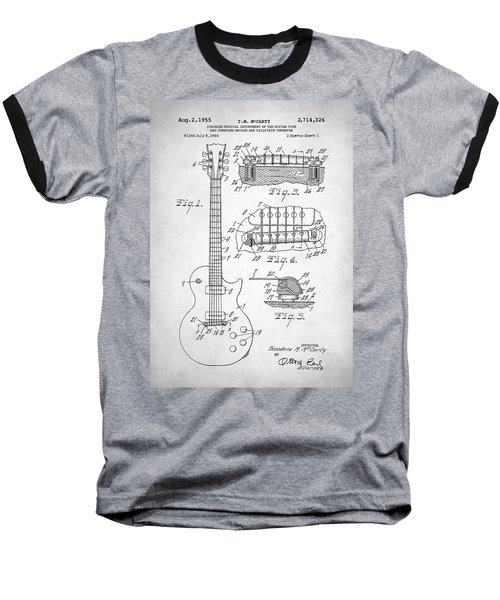 Gibson Les Paul Electric Guitar Patent Baseball T-Shirt by Taylan Apukovska
