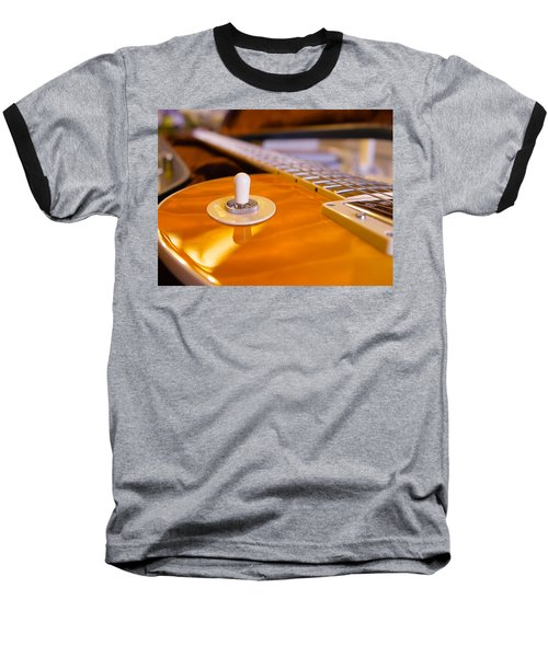 Baseball T-Shirt featuring the digital art Yellow Quilt Guitar Top by Guitar Wacky
