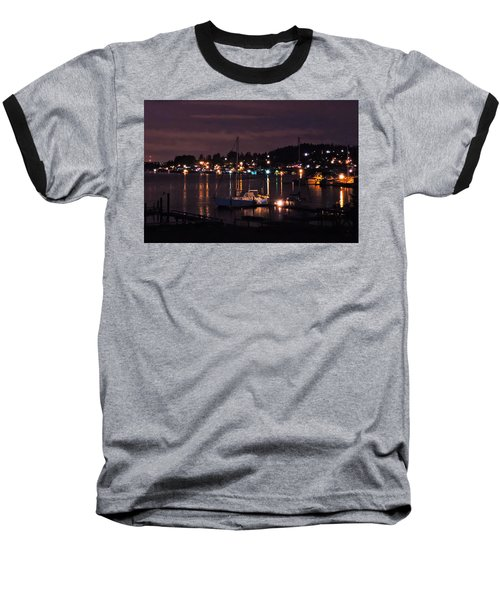 Baseball T-Shirt featuring the photograph Gig Harbor At Night by Jack Moskovita