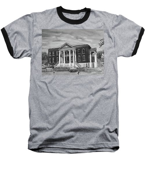 Baseball T-Shirt featuring the painting Gilmer County Old Courthouse - Black And White by Jan Dappen