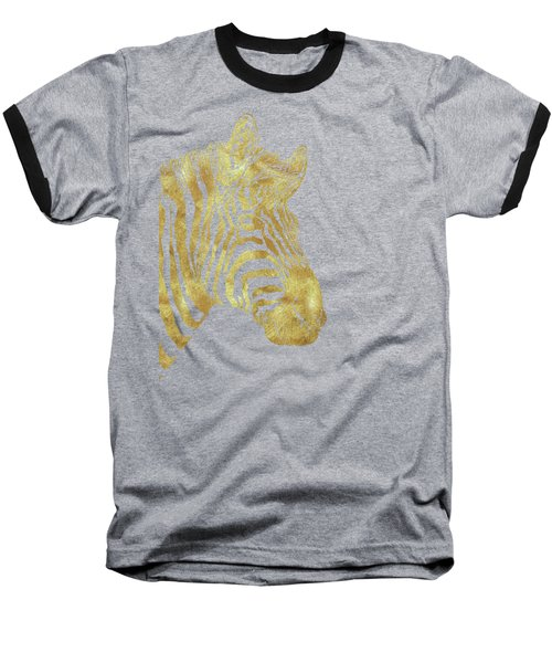 Gilt Zebra, African Wildlife, Wild Animal In Painted Gold Baseball T-Shirt by Tina Lavoie