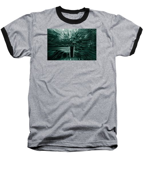 Ginat Microchip Hovering Above Circuit-board Baseball T-Shirt