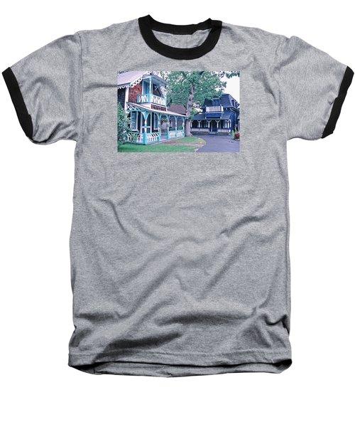 Gingerbread Houses Oak Bluff Martha's Vineyard Baseball T-Shirt by Tom Wurl