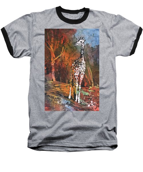 Baseball T-Shirt featuring the painting Giraffe Batik II by Ryan Fox