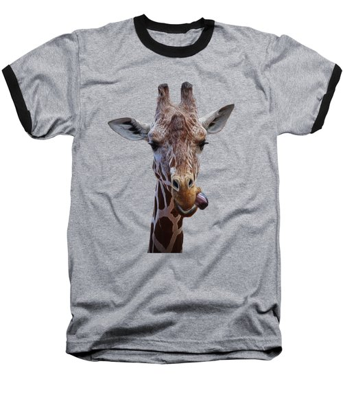 Giraffe Face Baseball T-Shirt by Ernie Echols