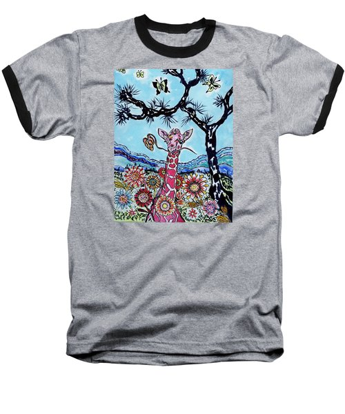 Baseball T-Shirt featuring the painting Giraffe In Garden by Connie Valasco