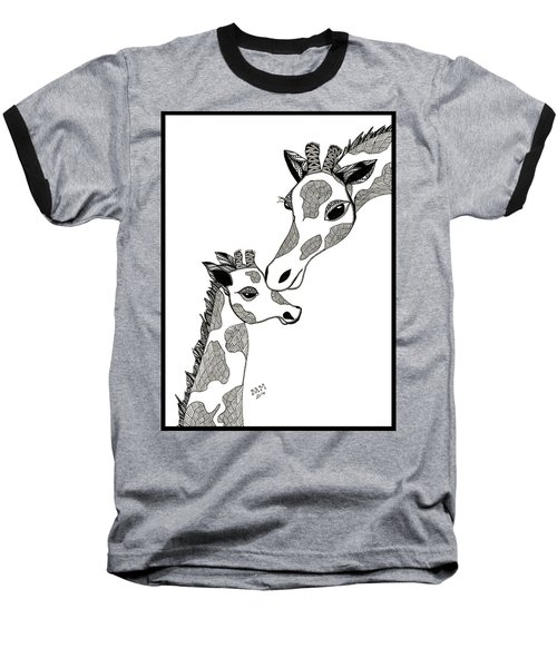 Giraffe Mom And Baby Baseball T-Shirt