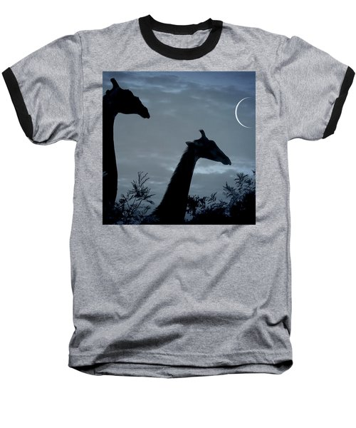 Giraffe Moon  Baseball T-Shirt