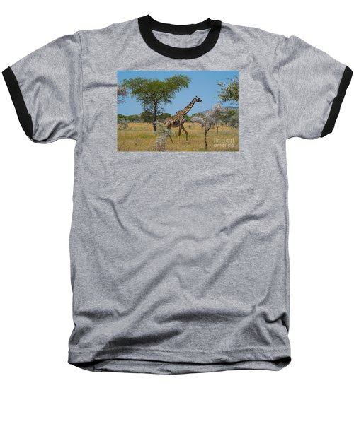 Baseball T-Shirt featuring the photograph Giraffe On The Move by Pravine Chester