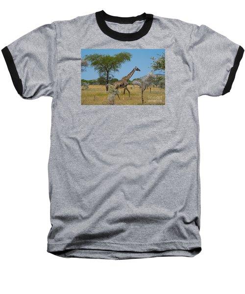 Giraffe On The Move Baseball T-Shirt