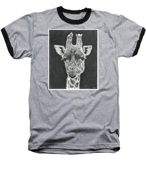 Giraffe Pencil Drawing Baseball T-Shirt