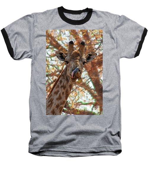 Giraffe Says Yum Baseball T-Shirt