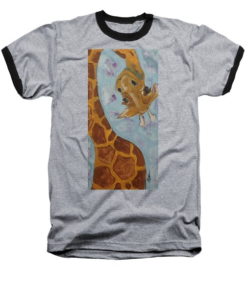 Giraffe Tall Baseball T-Shirt by Terri Einer