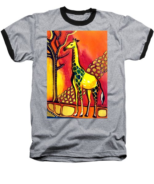 Giraffe With Fire  Baseball T-Shirt by Dora Hathazi Mendes