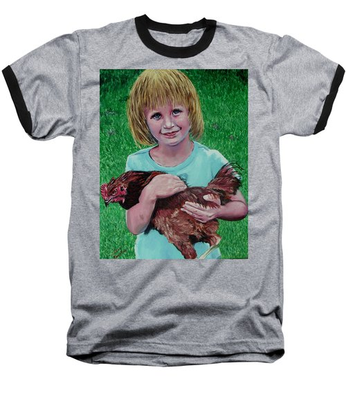 Girl And Chicken Baseball T-Shirt by Stan Hamilton
