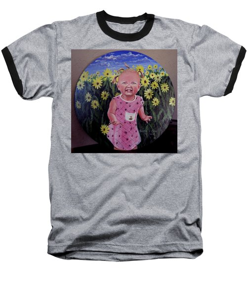 Girl And Daisies Baseball T-Shirt