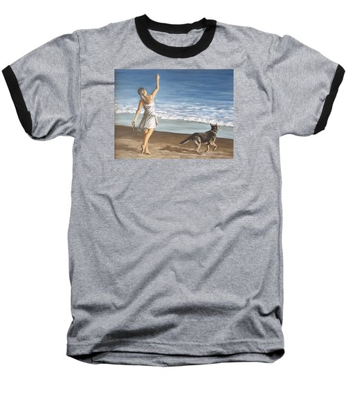 Baseball T-Shirt featuring the painting Girl And Dog by Natalia Tejera